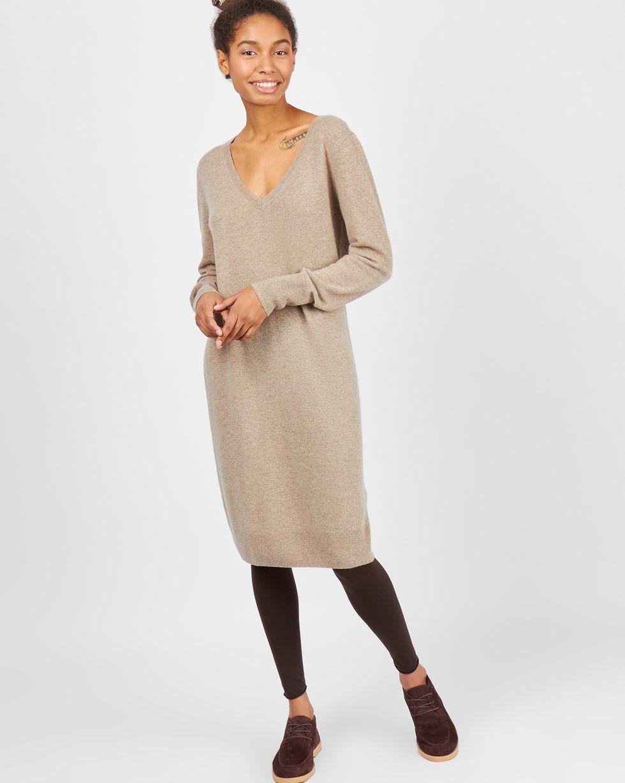 Платье миди из 100% кашемира SПлатья<br><br><br>Артикул: 82911113<br>Размер: S<br>Цвет: Кофейный<br>Новинка: НЕТ<br>Наименование en: Cashmere tunic dress