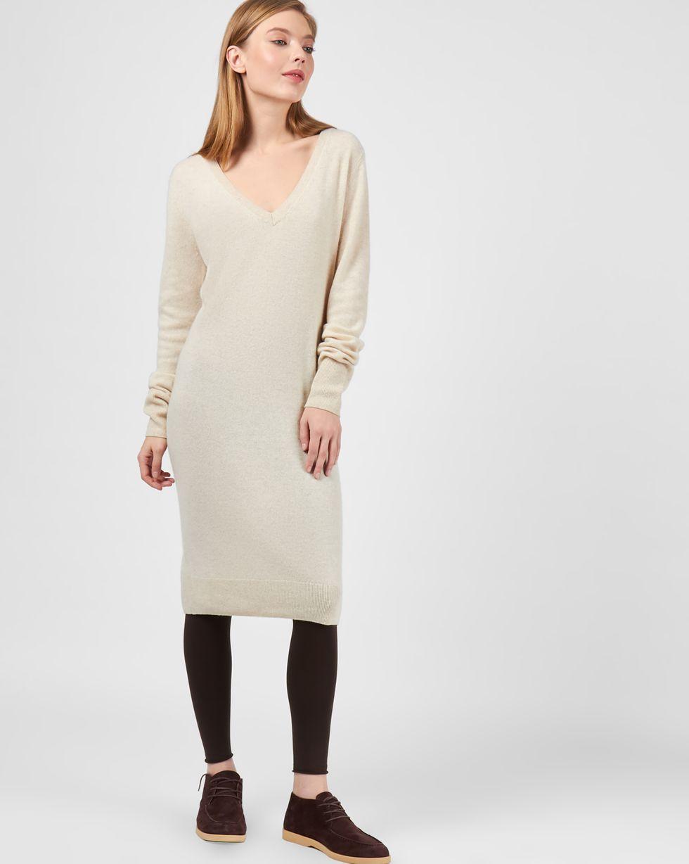 Платье миди из 100% кашемира LПлатья<br><br><br>Артикул: 82911114<br>Размер: L<br>Цвет: Молочный<br>Новинка: НЕТ<br>Наименование en: Cashmere tunic dress