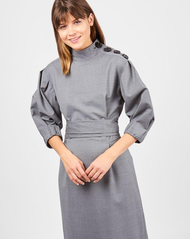 12Storeez Платье миди с пуговицами на плече (серый)