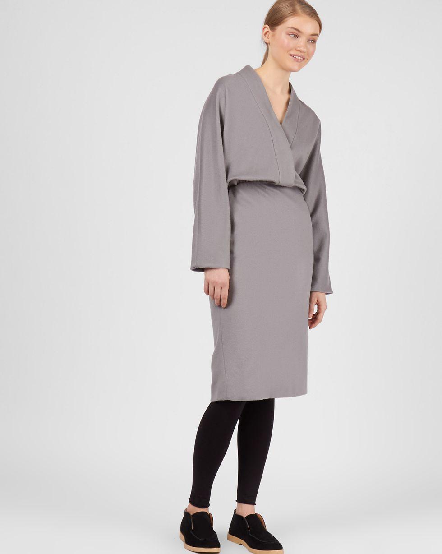 12Storeez Платье миди с глубоким вырезом (серый) 12storeez платье миди с запахом на талии серый в мелкую клетку