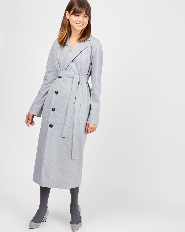 12Storeez Платье миди с пуговицами сбоку (серый)