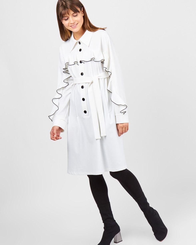 12Storeez Платье объемное с воланами на плечах (белый)