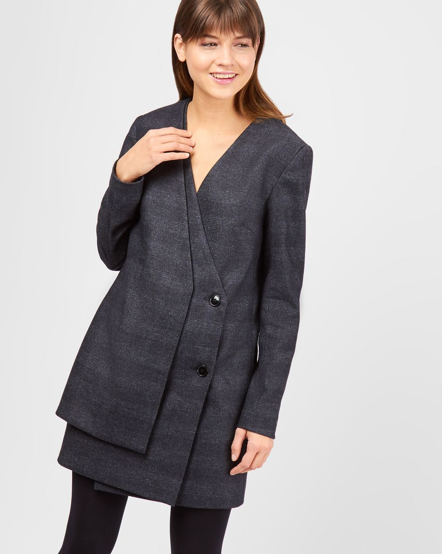 12Storeez Платье-пиджак двубортное мини (темно-серый)