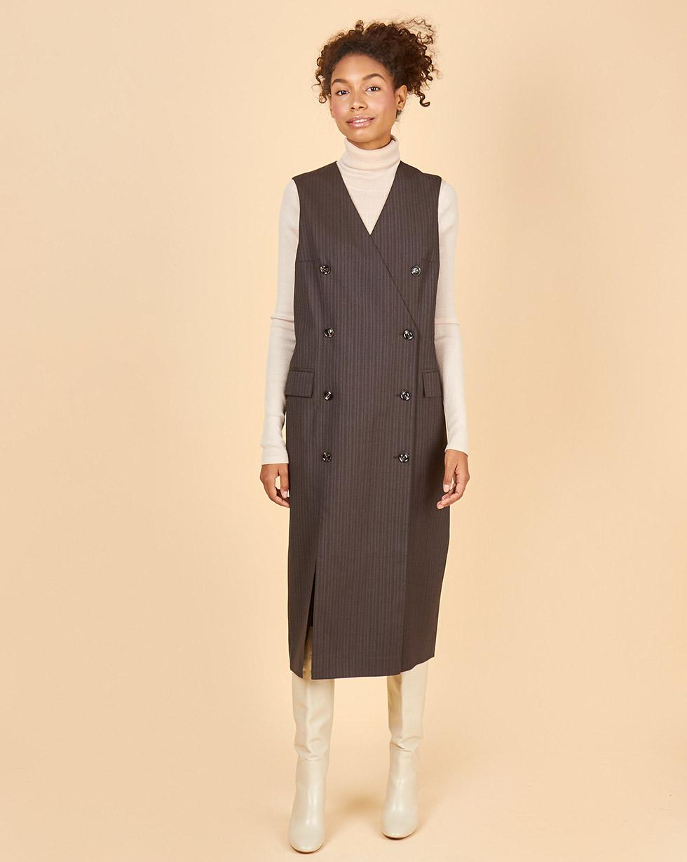 12Storeez Платье двубортное без рукавов (коричневый) printio платье без рукавов