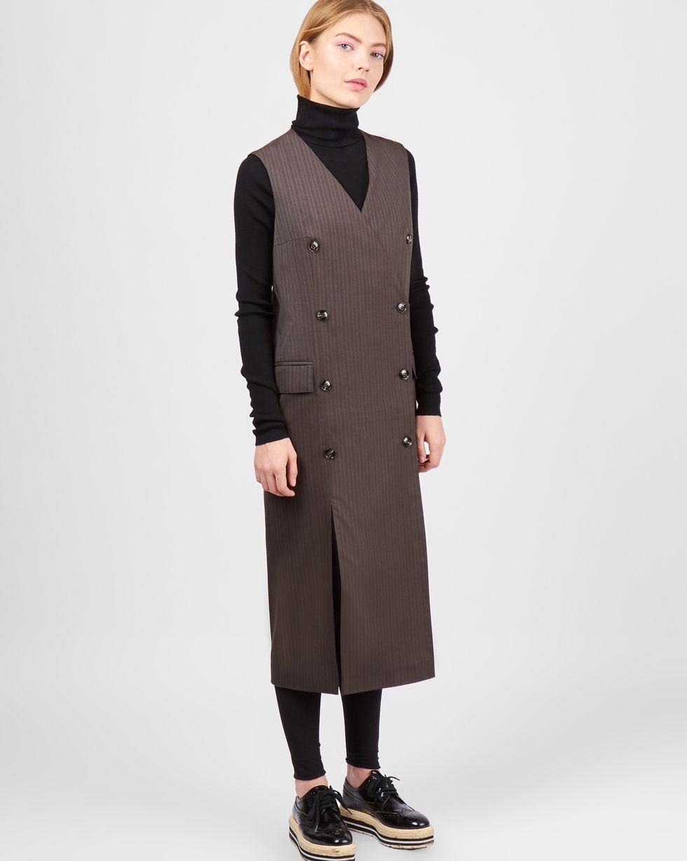12Storeez Платье двубортное без рукавов (коричневый) платье klingel цвет коричневый