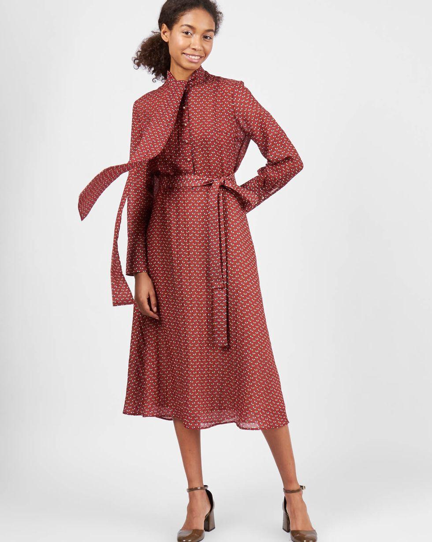 12Storeez Платье миди с бантом (мухи бордовый) 12storeez платье миди с бантом в горох светло коричневый