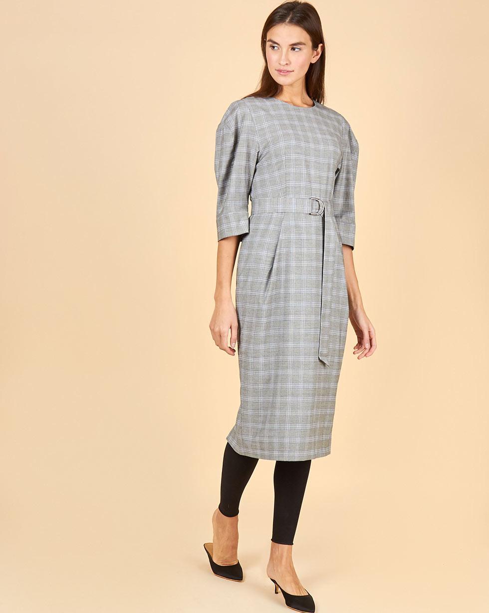 12Storeez Платье миди с широким поясом (серый) 12storeez платье миди с запахом на талии серый в мелкую клетку