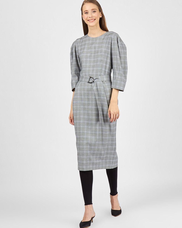Платье миди с широким поясом LПлатья<br><br><br>Артикул: 82911530<br>Размер: L<br>Цвет: Серый<br>Новинка: НЕТ<br>Наименование en: Check pattern midi dress
