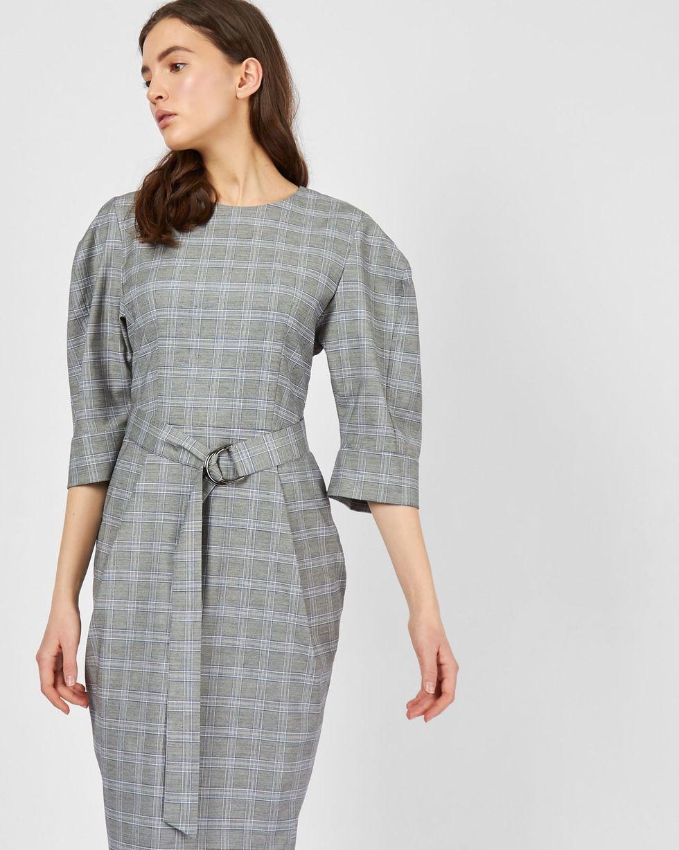 Платье миди с широким поясом MПлатья<br><br><br>Артикул: 82911530<br>Размер: M<br>Цвет: Серый<br>Новинка: НЕТ<br>Наименование en: Check pattern midi dress