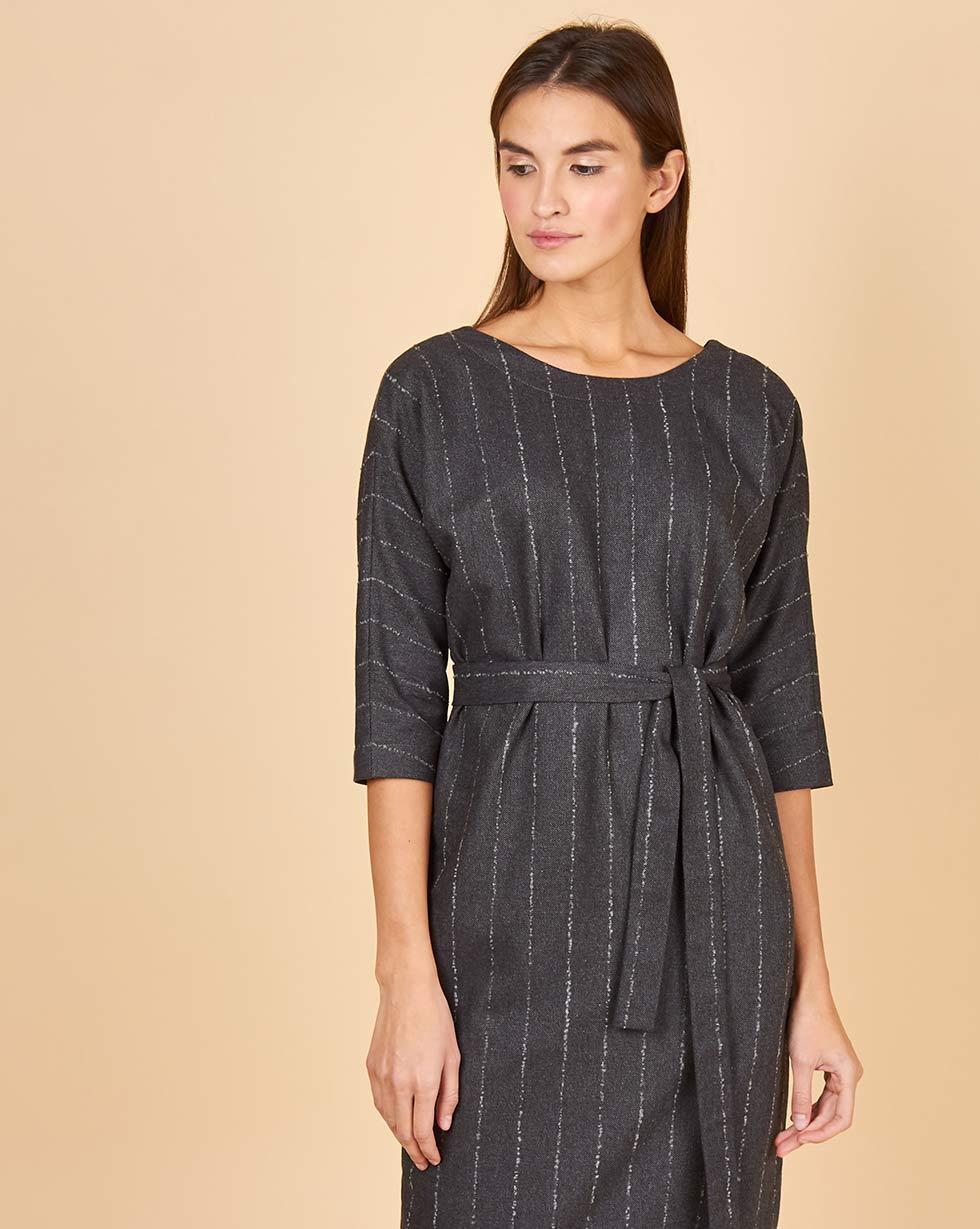 12Storeez Платье миди с вырезом и пуговицами сзади в полоску (букле серый) платья trendy tummy платье