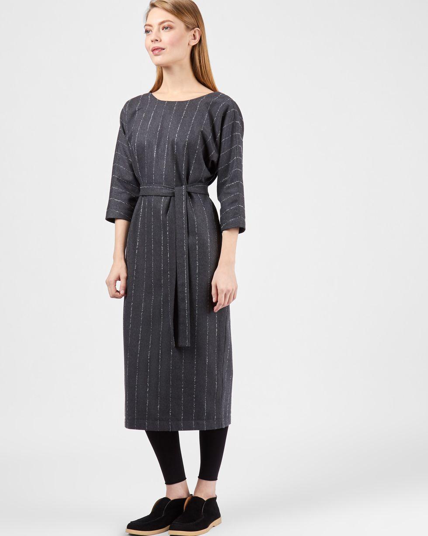 Платье миди с вырезом и пуговицами сзади в полоску MПлатья<br><br><br>Артикул: 82911568<br>Размер: M<br>Цвет: Серый<br>Новинка: НЕТ<br>Наименование en: Back v-neck midi dress