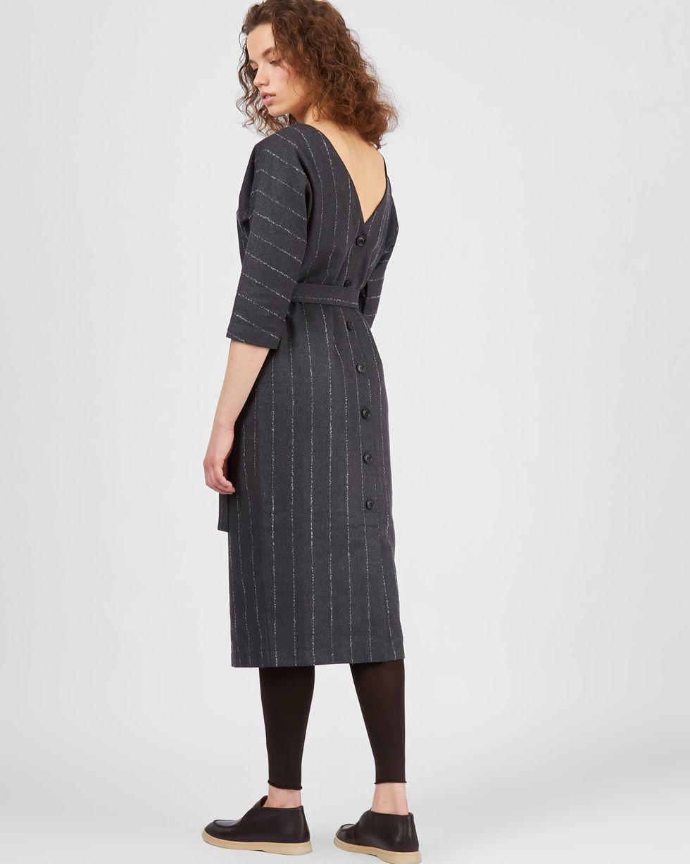12Storeez Платье миди с вырезом  пуговицами сзади  полоску (букле серый)