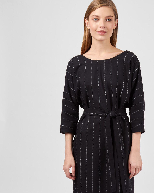 12Storeez Платье миди с вырезом и пуговицами сзади в полоску (букле черный) 12storeez платье с металлизированным эфектом черный