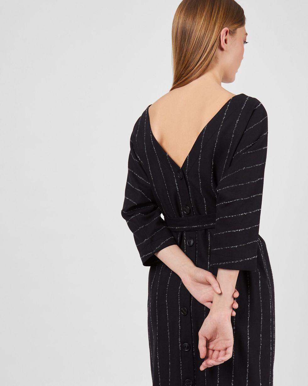 Платье миди с вырезом и пуговицами сзади в полоску SПлатья<br><br><br>Артикул: 82911572<br>Размер: S<br>Цвет: Черный<br>Новинка: НЕТ<br>Наименование en: Back v-neck midi dress