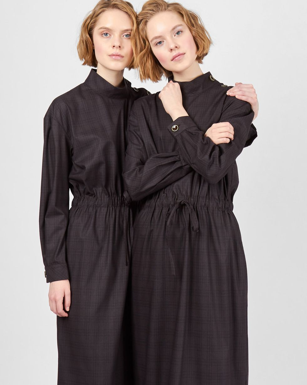 12Storeez Платье миди со стойкой (темно-коричневый) платье с длинным рукавом dioni платья и сарафаны приталенные