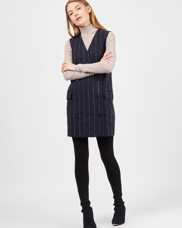 Платье мини двубортное без рукавов XSПлатья<br><br><br>Артикул: 82911669<br>Размер: XS<br>Цвет: Темно-синий<br>Новинка: НЕТ<br>Наименование en: Sleeveless double-breasted dress