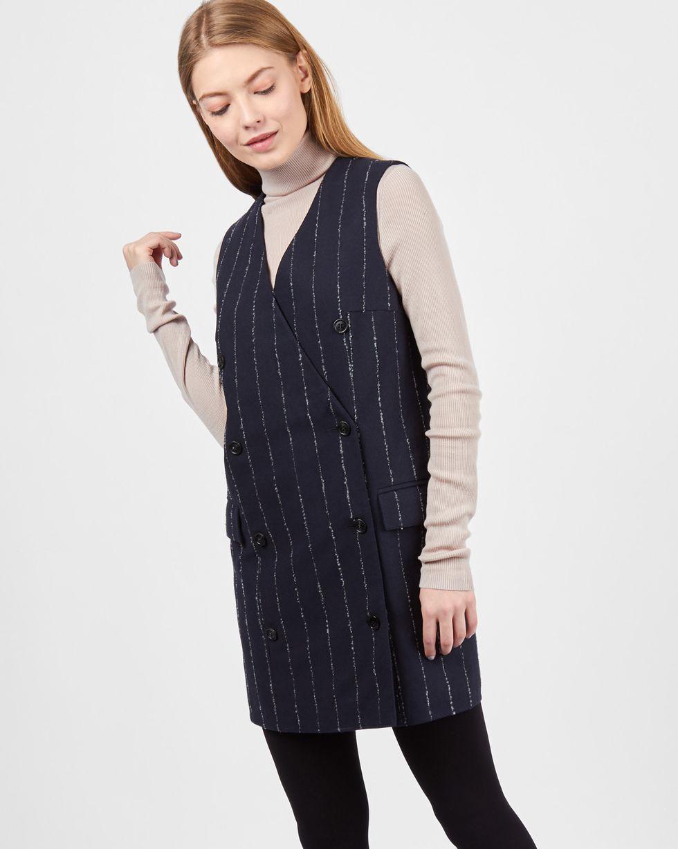 12Storeez Платье мини двубортное без рукавов в полоску (синий) платье credo платья и сарафаны в полоску