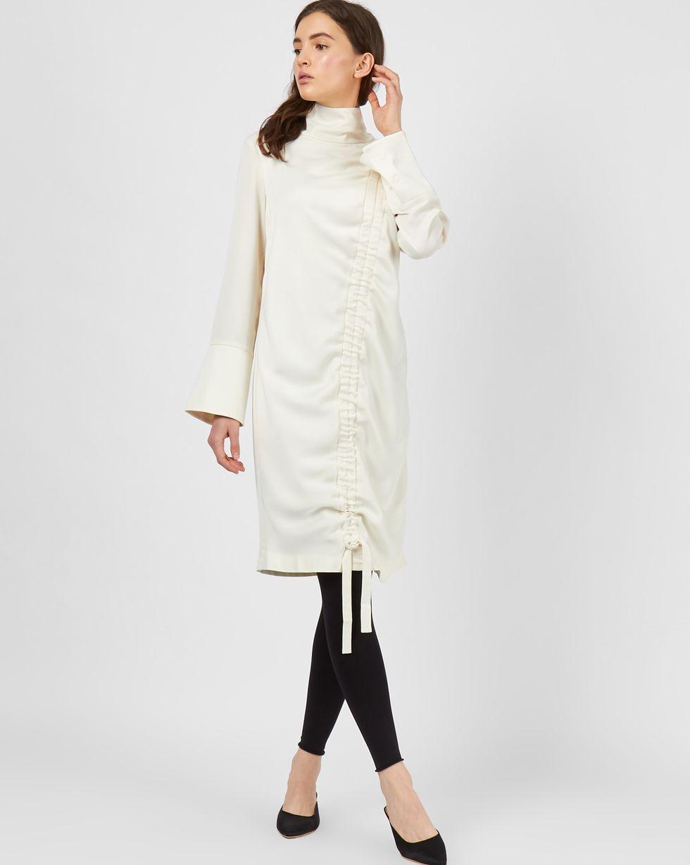Платье мини со сборкой SПлатья<br><br><br>Артикул: 82911671<br>Размер: S<br>Цвет: Молочный<br>Новинка: НЕТ<br>Наименование en: Drawstring detail midi dress
