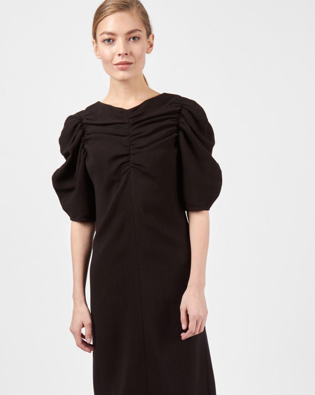 Платье со сборкой на рукавах LПлатья<br><br><br>Артикул: 82911681<br>Размер: L<br>Цвет: Черный<br>Новинка: НЕТ<br>Наименование en: Pleat detail midi dress