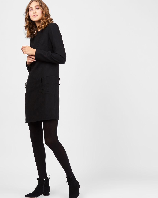 Платье мини с заниженной талией LПлатья<br><br><br>Артикул: 82911840<br>Размер: L<br>Цвет: Черный<br>Новинка: НЕТ<br>Наименование en: Drop waist wool dress