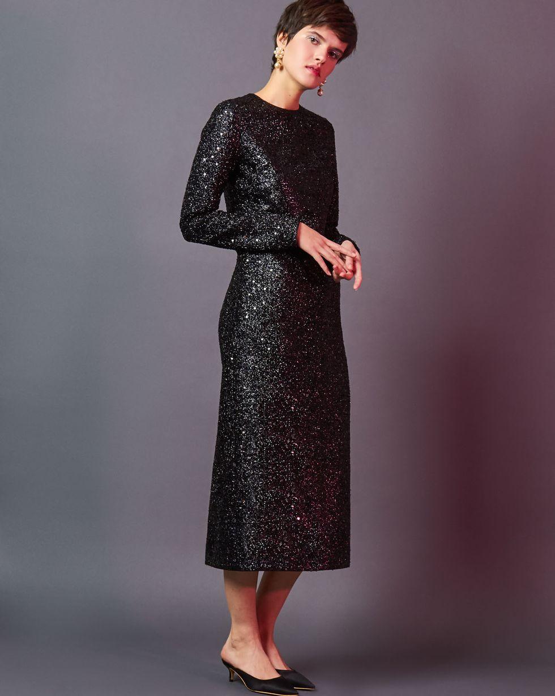 Платье миди из ткани металлик SПлатья<br><br><br>Артикул: 82911881<br>Размер: S<br>Цвет: Черный<br>Новинка: НЕТ<br>Наименование en: Metallic effect midi dress