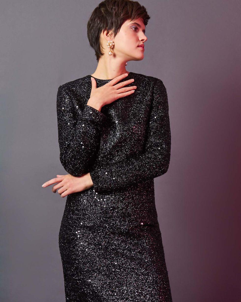 12Storeez Платье миди из ткани металлик (черный)