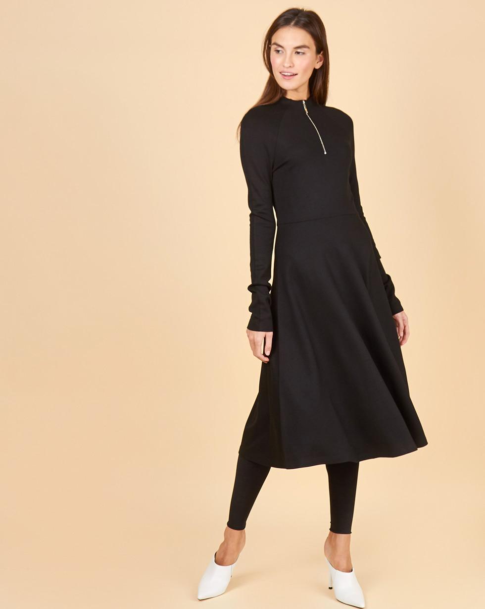 12Storeez Платье трикотажное с воротником-стойкой на молнии (черный) 12storeez платье с металлизированным эфектом черный