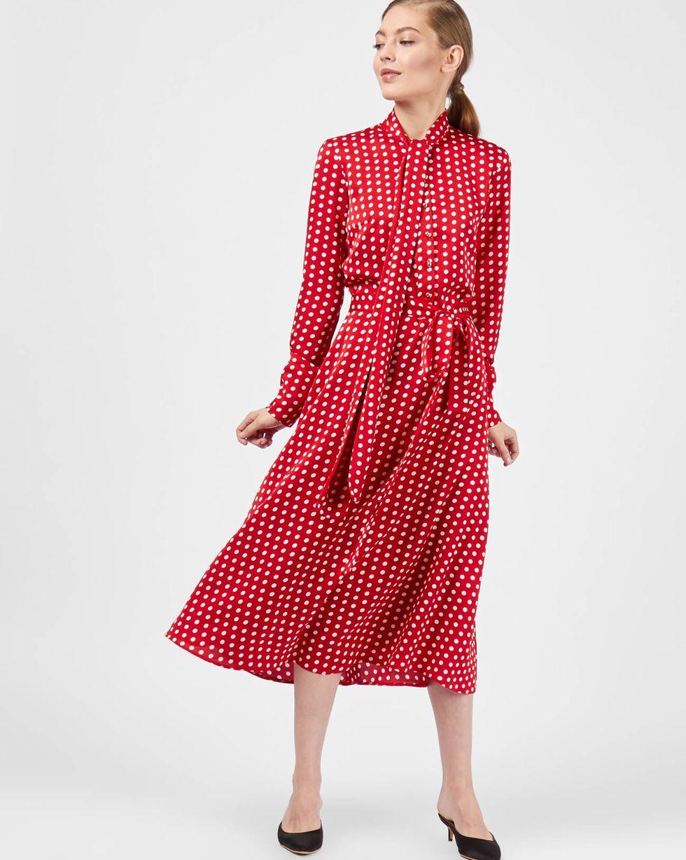 12Storeez Платье миди с бантом в горох (красный)