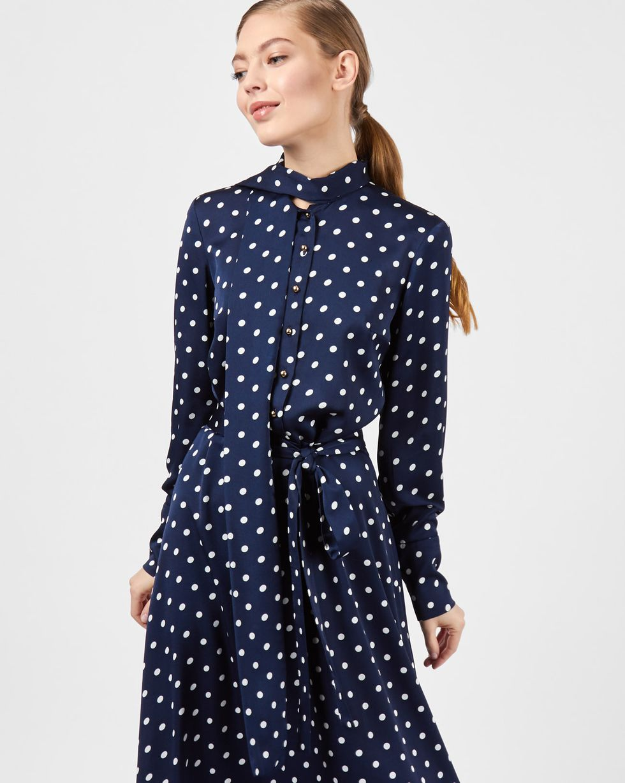 Платье миди с бантом в горох MПлатья<br><br><br>Артикул: 82912022<br>Размер: M<br>Цвет: Темно-синий<br>Новинка: НЕТ<br>Наименование en: Tie detail polka dot dress