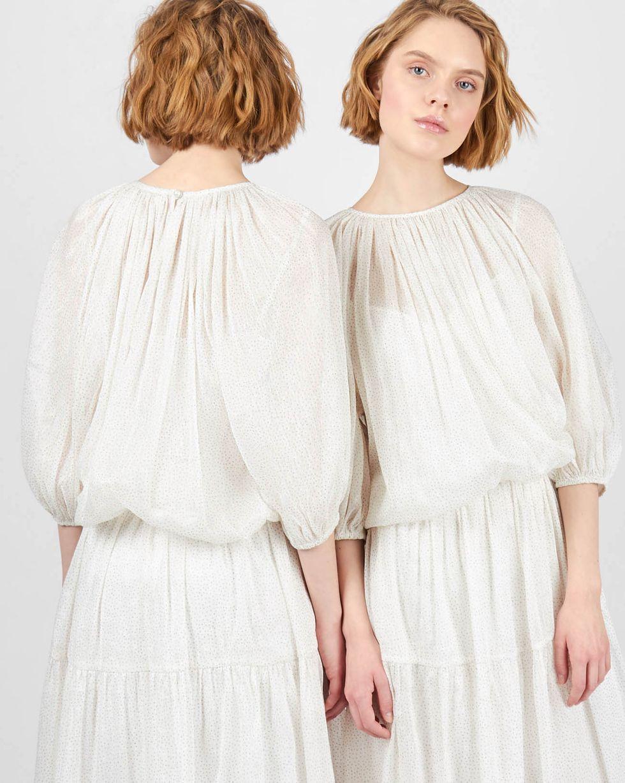 Платье с объемными рукавами с блестками XS