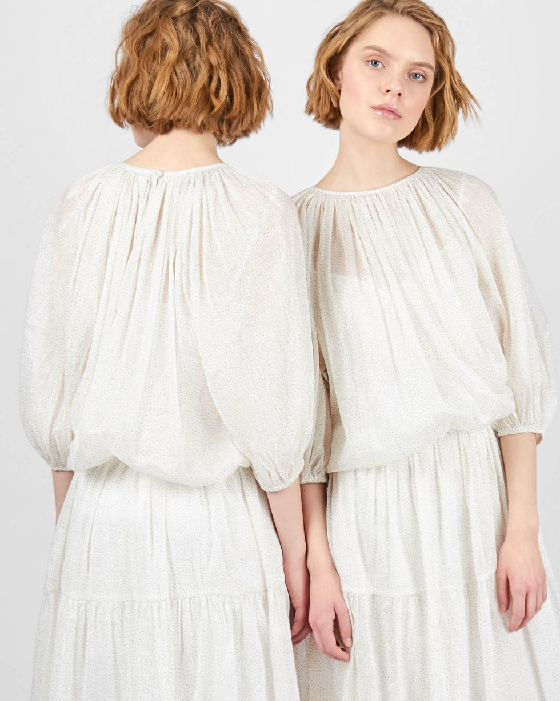 Платье с объемными рукавами с блестками MПлатья<br><br><br>Артикул: 82912082<br>Размер: M<br>Цвет: Белый<br>Новинка: НЕТ<br>Наименование en: Glitter embellished midi dress