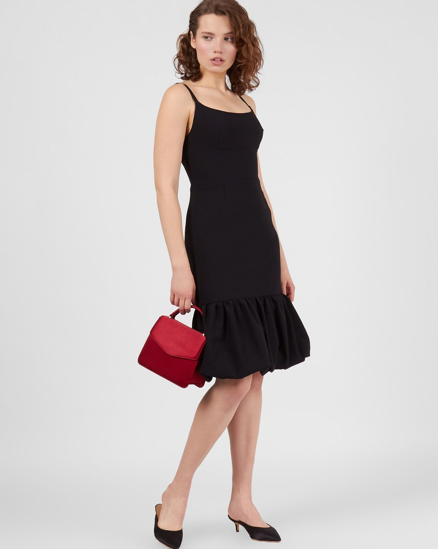 Платье миди с воланом по низу XS