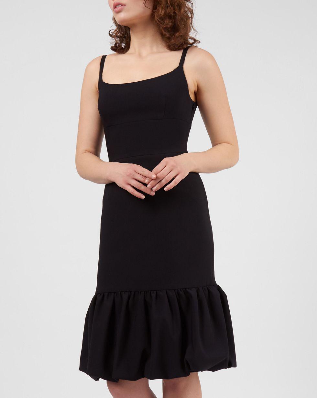 12Storeez Платье миди с воланом по низу (черный)