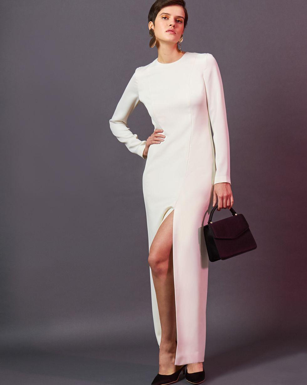 Платье миди с разрезом MПлатья<br><br><br>Артикул: 82912127<br>Размер: M<br>Цвет: Молочный<br>Новинка: ДА<br>Наименование en: Front slit maxi dress