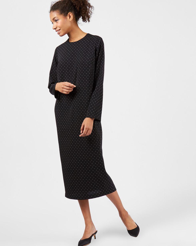 12Storeez Платье миди в мелкий горошек (черный) цена