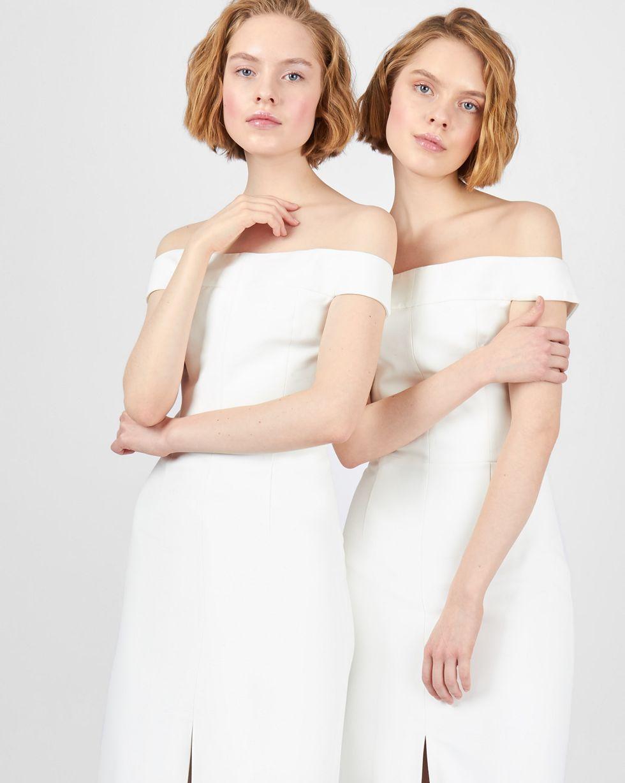 12Storeez Платье миди со спущенными плечами (белый) 12storeez платье пиджак со спущенными плечами серый