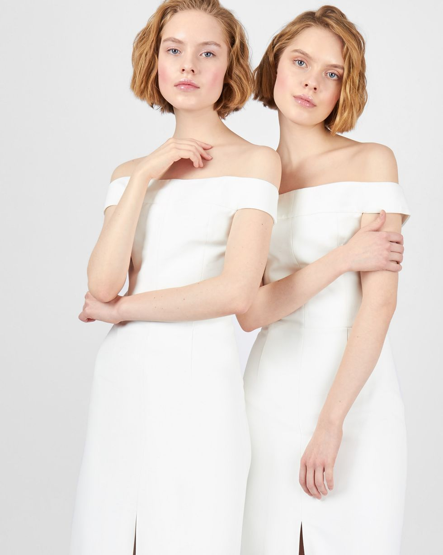 Платье миди со спущенными плечами LПлатья<br><br><br>Артикул: 82912210<br>Размер: L<br>Цвет: Белый<br>Новинка: НЕТ<br>Наименование en: Drop shoulder midi dress