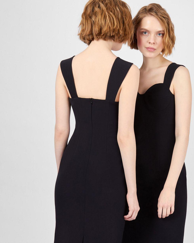 Платье миди с фигурными бретелями MПлатья<br><br><br>Артикул: 82912214<br>Размер: M<br>Цвет: Черный<br>Новинка: НЕТ<br>Наименование en: Fitted midi dress