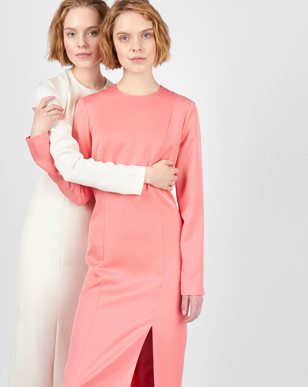 12Storeez Платье миди с разрезом (розовый)