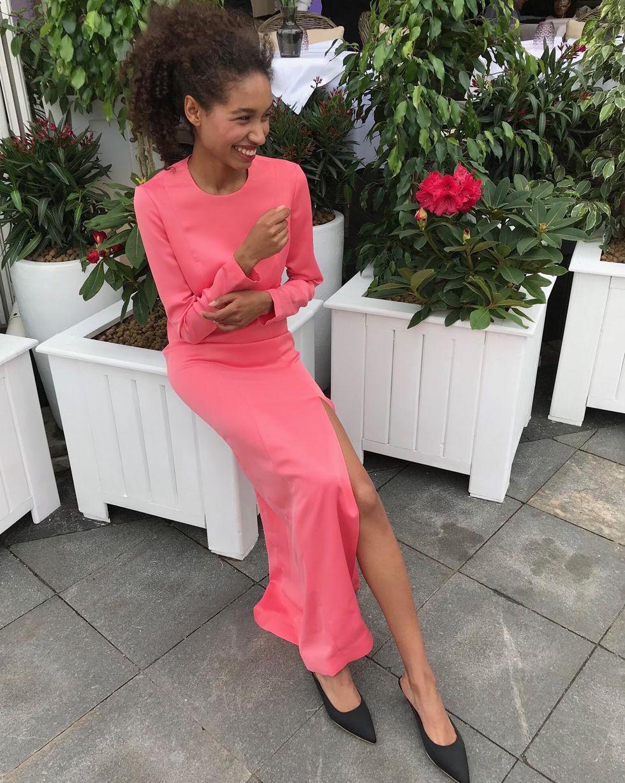 12Storeez Платье миди с разрезом (розовый) цена и фото