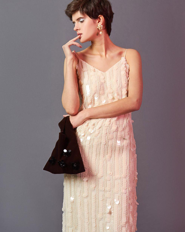 12Storeez Платье-комбинация из пайеток и бисера (молочный) 12storeez платье комбинация из бархата бордовое