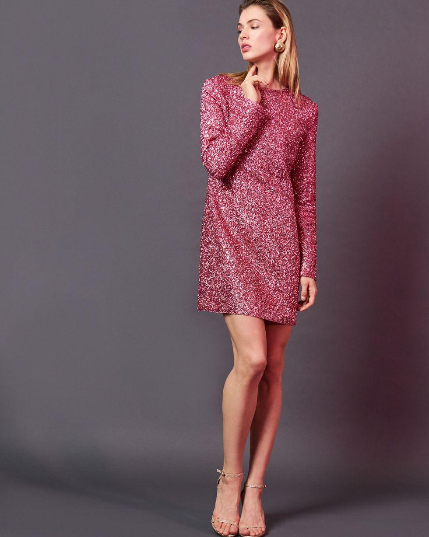 Платье мини из ткани металлик SПлатья<br><br><br>Артикул: 82912422<br>Размер: S<br>Цвет: Розовый<br>Новинка: НЕТ<br>Наименование en: Metallic effect mini dress