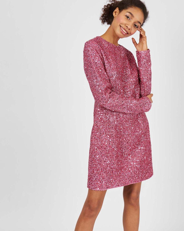 Платье мини из ткани металлик SПлатья<br><br><br>Артикул: 82912422<br>Размер: S<br>Цвет: Розовый<br>Новинка: ДА<br>Наименование en: Metallic effect mini dress