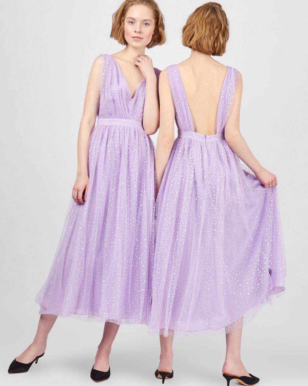 12Storeez Платье миди с мелкими звездочками (сиреневый)