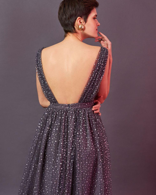 12Storeez Платье миди с мелкими звездочками (серый)