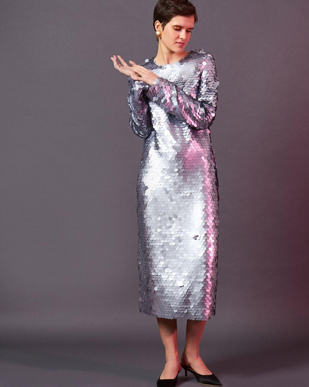 Платье миди из круглых пайеток M