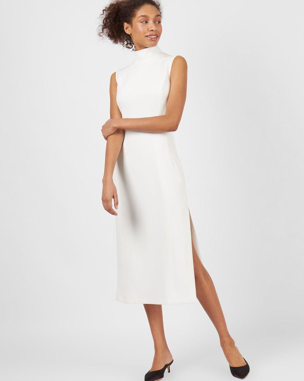Платье миди без рукавов с разрезом SПлатья<br><br><br>Артикул: 82912764<br>Размер: S<br>Цвет: Молочный<br>Новинка: НЕТ<br>Наименование en: Side slit sleeveless dress