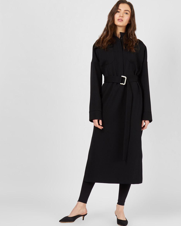 12Storeez Платье миди на поясе с карманами (черный) все цены