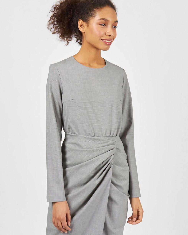 Фото 12Storeez Платье миди с запахом на талии (серый в мелкую клетку)