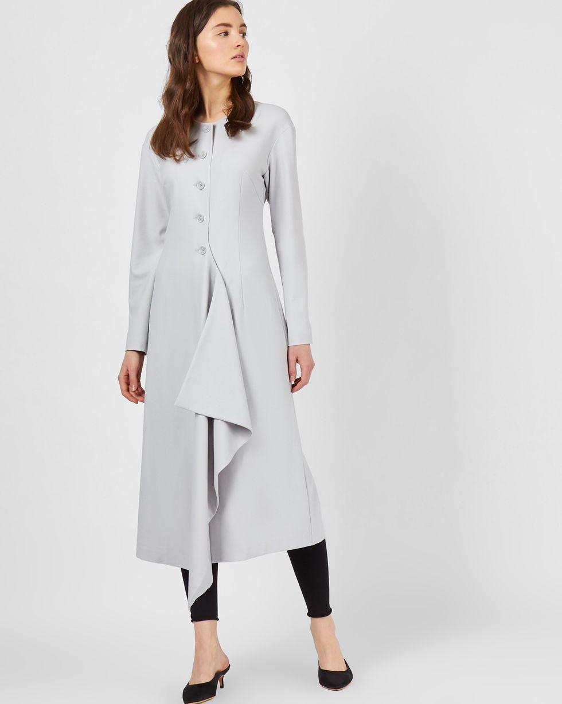 цена 12Storeez Платье миди на пуговицах и неровным низом (светло-серый) онлайн в 2017 году